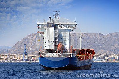 Container ship: aft view.