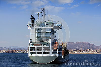 Container ship: aft view