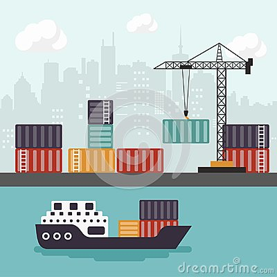 Free Container Ship At Freight Port Terminal Unloading. Merchant Marine. Flat Vector Stock Images - 109127714
