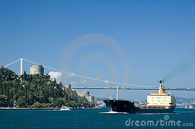 Container ship on the bosphorus