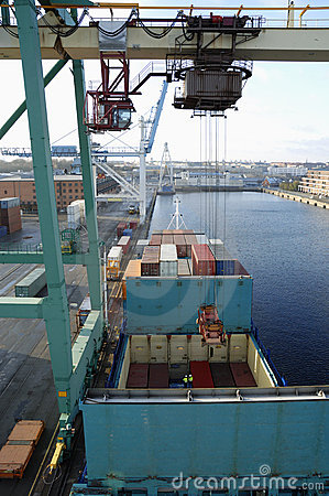 Container ship, crane and port