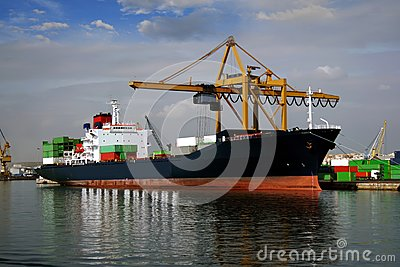 Container ship docked