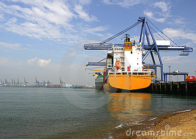 Container ship at the docks