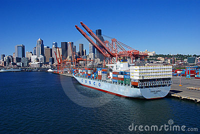 Container ship and dockyard Editorial Image