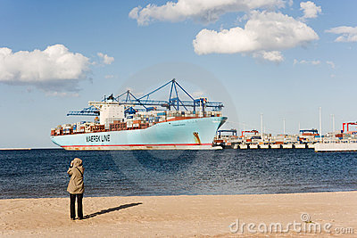 Container ship Eleonora Maersk in Gdansk Poland Editorial Photography