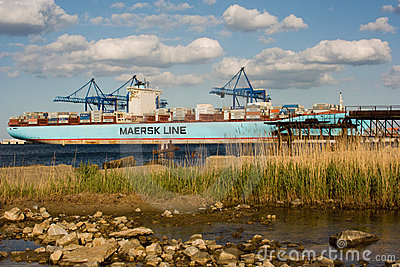 Container ship Eleonora Maersk in Gdansk Poland Editorial Stock Image