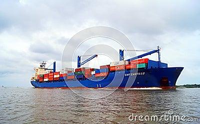Container Ship Entering Cartagena Editorial Image