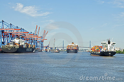 Cargo ship in Hamburg Altenwerder Editorial Stock Image