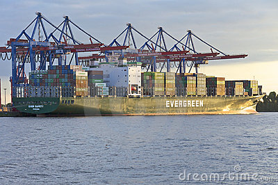 Container ship in the harbor Hamburg Editorial Stock Image