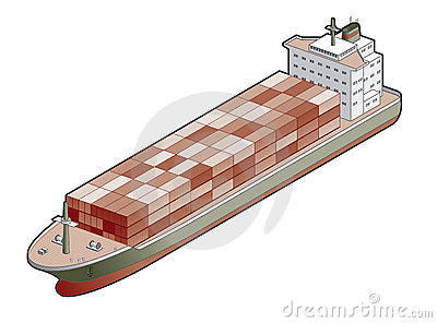 Container Ship Icon. Design Elements 41a
