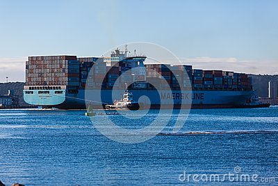 Container Ship Assist Tugs Editorial Photography