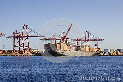 Container Ship at Loading Wharf