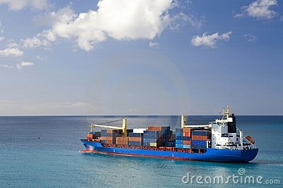 Container ship at open sea