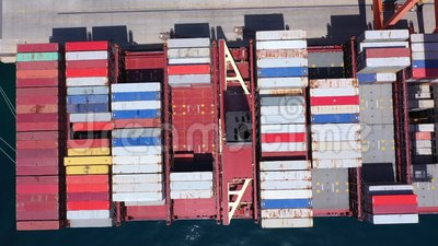 Container ship in the port of Rijeka stock footage