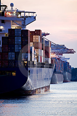 Container ships docked in port