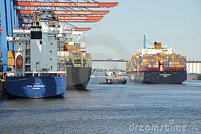 Container terminal in Hamburg Altenwerder Editorial Stock Image