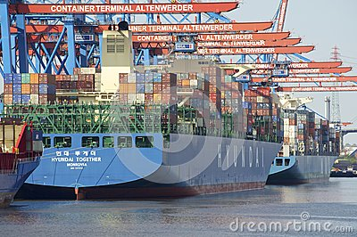 Container Terminal Hamburg Editorial Photography