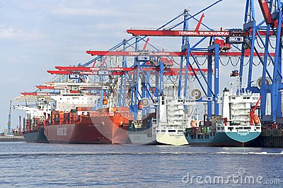 Container Terminal Hamburg Editorial Stock Image