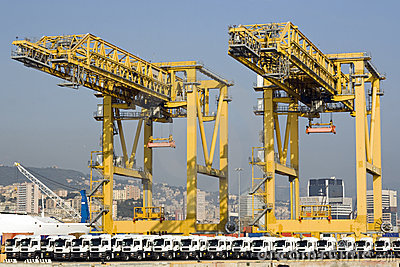 Container terminal and row of new trucks