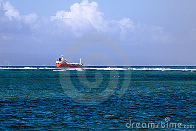 Container Vessel on the ocean