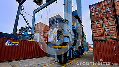Container yard operation, Xiamen, China Editorial Stock Image