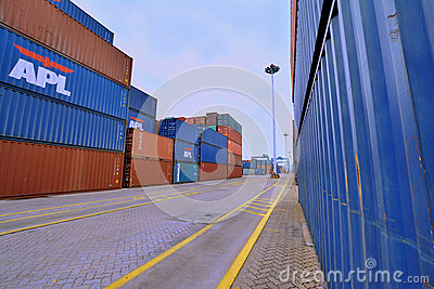 Container yard in Xiamen, China Editorial Stock Photo
