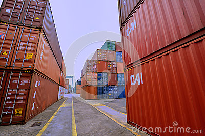 Container yard, Xiamen, Fujian, China Editorial Stock Photo
