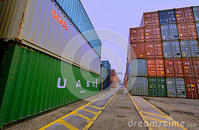 Container yard in Xiamen harbor, Fujian, China Editorial Photo