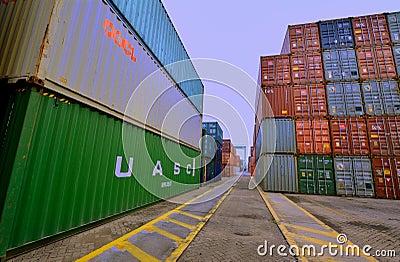 Container yard in Xiamen harbor, Fujian, China Editorial Photo