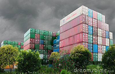 Containers from around the world Editorial Image