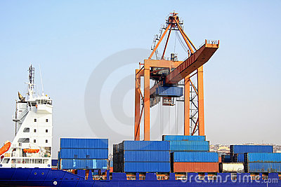 Containers in blue