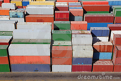 Containers for cargo transportation on ship