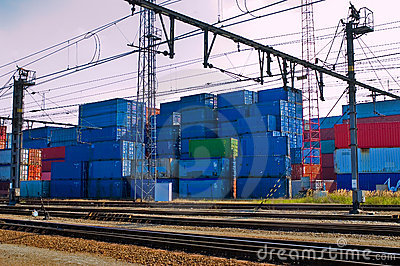 Containers next to railroad