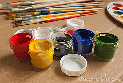 Containers of paint.