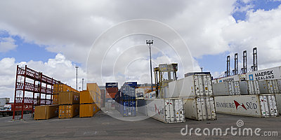 Containers in the port of Montevideo Editorial Photography
