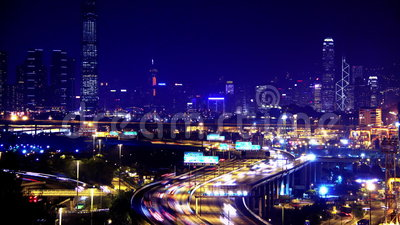 Containers Port Timelapse at Night. Hong Kong. Wide Shot. stock video footage