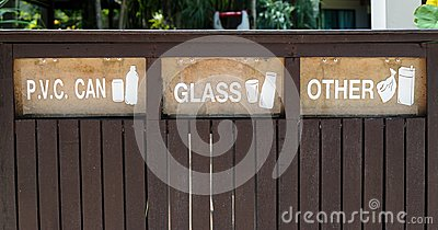 Containers signs for Garbage Separation