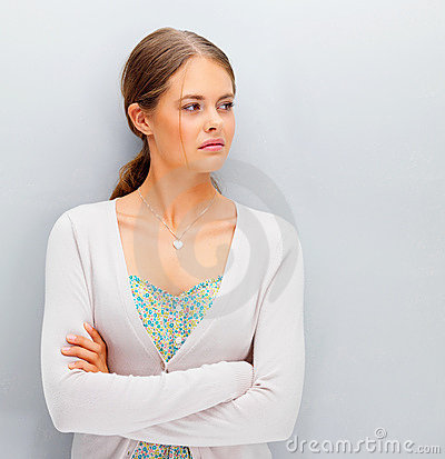 Contemplation: Pretty young woman looking away