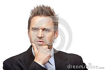 Contemplative Businessman think on problem