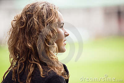 Contemplative young woman looking away