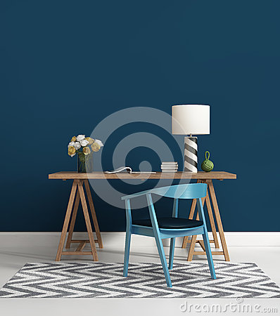 Free Contemporary Blue Home Office Royalty Free Stock Photography - 43635327