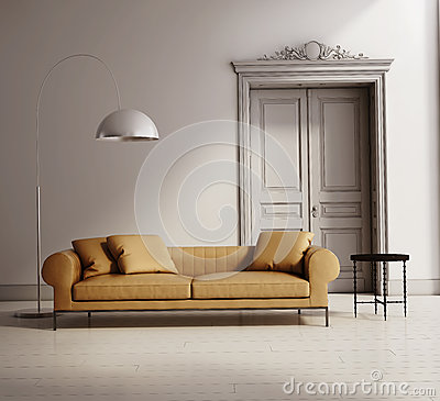 Contemporary classic living room, beige leather sofa