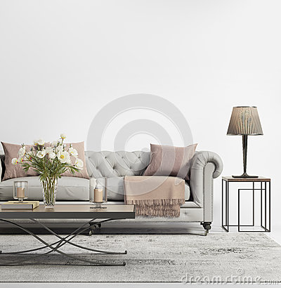 Free Contemporary Elegant Chic Living Room With Grey Tufted Sofa Stock Images - 61511764