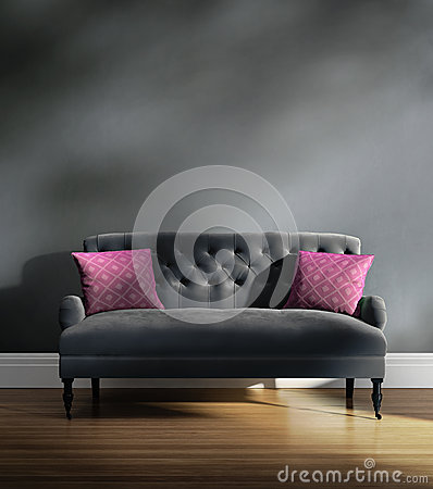Contemporary elegant luxury grey velvet sofa with pink cushions