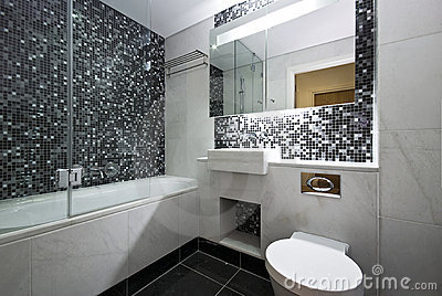 Contemporary En Suite Bathroom In Black And White Royalty