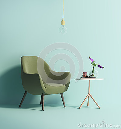 Free Contemporary Green Armchair On Mint Wall Royalty Free Stock Photography - 70611147
