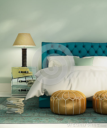 Contemporary green luxury bedroom with leather bed Stock Photo