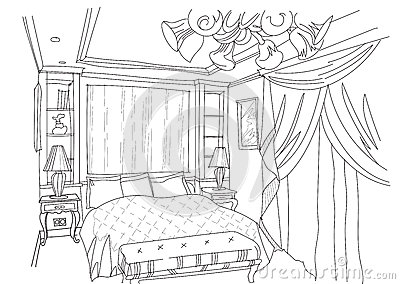 contemporary interior doodles bedroom stock vector image 57815510