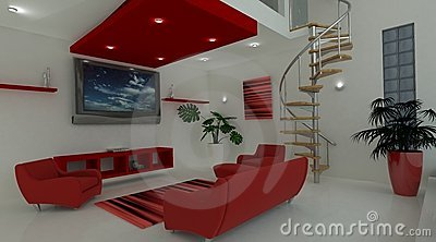 Contemporary interior living space
