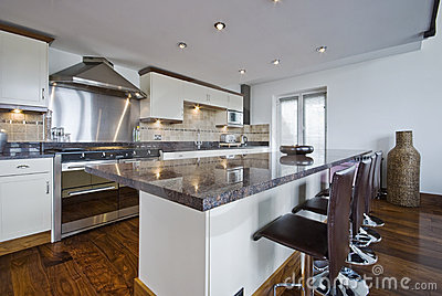 Contemporary kitchen with a breakfast bar